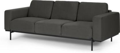 An Image of Jarrod 3 Seater Sofa, Plush Asphalt Velvet