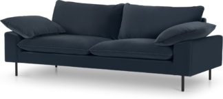 An Image of Fallyn 3 Seater Sofa, Navy Cotton Velvet