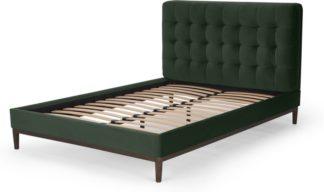 An Image of Lavelle Double Bed, Laurel Green Velvet & Walnut Stain Legs