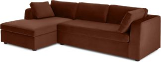 An Image of Mogen Left Hand Facing Chiase End Sofa Bed, Warm Caramel Velvet