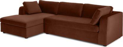 An Image of Mogen Left Hand Facing Chiase End Sofa Bed, Warm Caramel Velvet