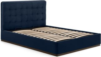 An Image of Lavelle Double Ottoman Bed, Ink Blue Velvet & Walnut Stain Plinth