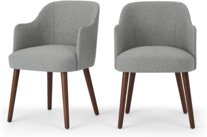 An Image of Set of 2 Swinton Carver Dining Chairs, Mountain Grey & Dark Stain