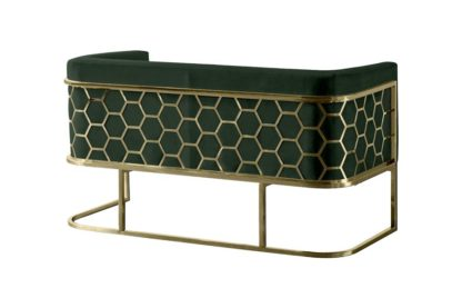 An Image of Alveare Two Seat Sofa - Brass - Green