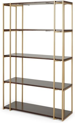 An Image of Khalida Bookcase, Dark Mango Wood and Brass