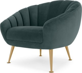 An Image of Primrose Accent Armchair, Marine Green Velvet