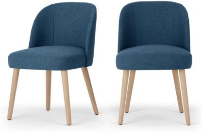 An Image of Set of 2 Swinton Dining Chairs, Tonic Blue & Oak Stain