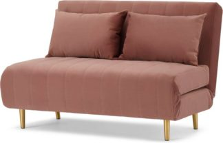 An Image of Bessie Small Sofa Bed, Blush Pink Velvet