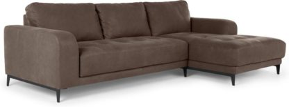 An Image of Luciano Right Hand Facing Corner Sofa, Texas Charcoal Grey Leather