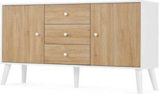 An Image of MADE Essentials Larsen Large Sideboard, Oak Effect & White