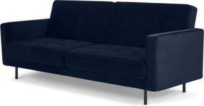An Image of Rosslyn Click Clack Sofa Bed, Ink Blue Velvet