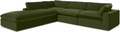An Image of Samona Left Hand Facing Full Corner Sofa, Pistachio Green Velvet