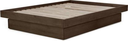 An Image of Meiko Double Platform Bed with Drawer Storage, Walnut Stain Pine
