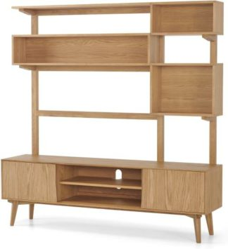 An Image of Wingrove Wide Media Shelving Unit, French Oak