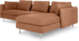 An Image of Vento 3 Seater Right Hand Facing Chaise End Sofa, Texas Tan Leather