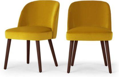 An Image of Set of 2 Swinton Dining Chairs, Saffron Yellow Velvet & Dark Stain