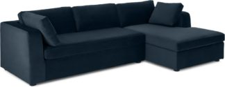 An Image of Mogen Right Hand Facing Chaise End Sofa Bed, Sapphire Blue Velvet