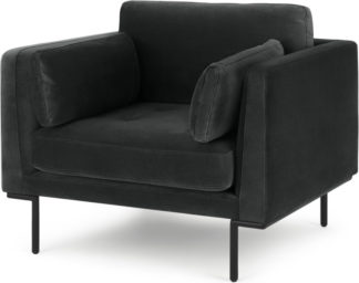 An Image of Harlow Armchair, Midnight Grey Velvet