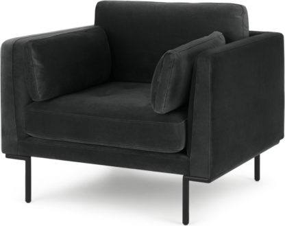 An Image of Harlow Armchair, Midnight Grey Velvet