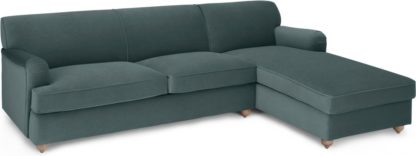 An Image of Orson Right Hand Facing Chaise End Sofa Bed, Marine Green Velvet