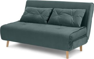 An Image of Haru Large Double Sofa Bed, Marine Green Velvet