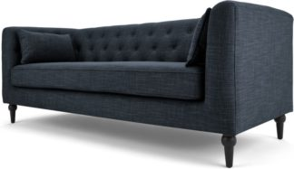 An Image of Flynn 3 Seat Sofa, Atlantic Blue Linen Mix