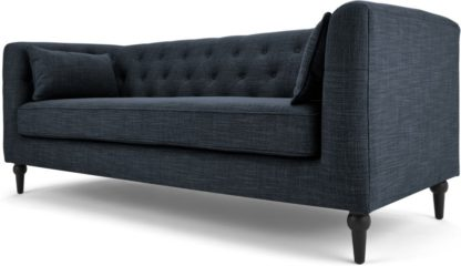 An Image of Flynn 3 Seat Sofa, Atlantic Blue Linen Mix