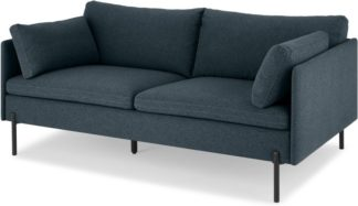 An Image of Zarina Large 2 Seater Sofa, Aegean Blue with Black Leg