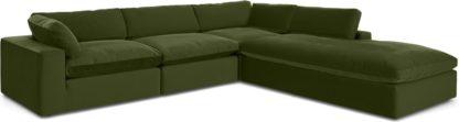An Image of Samona Right Hand Facing Full Corner Sofa, Pistachio Green Velvet