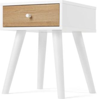 An Image of MADE Essentials Larsen Bedside Table, Oak Effect and White
