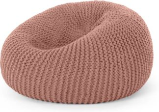 An Image of Aki 100% Wool Cocoon Bean Pouffe, Blush Pink
