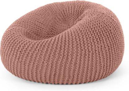 An Image of Aki 100% Wool Cocoon Bean Pouffe, Blush Pink