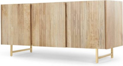 An Image of Aphra Sideboard, Light Mango Wood and Brass Inlay