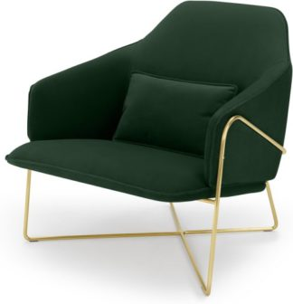 An Image of Stanley Accent Armchair, Pine Green Velvet