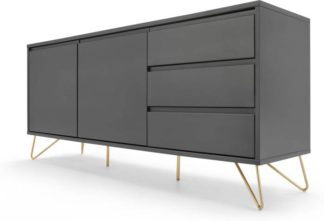 An Image of Elona Sideboard, Charcoal and Brass