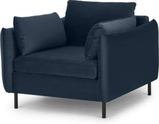 An Image of Vento Armchair, Sapphire Blue Velvet