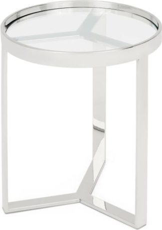 An Image of Aula Side table, Stainless Steel and Glass