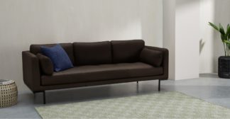 An Image of Harlow 3 Seater Sofa, Denver Dark Brown Leather