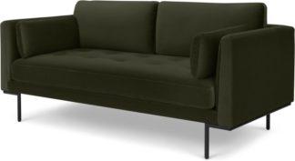 An Image of Harlow Large 2 Seater Sofa, Dark Olive Velvet