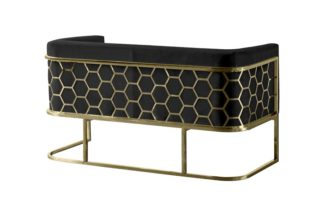 An Image of Alveare Two Seat Sofa - Brass - Black