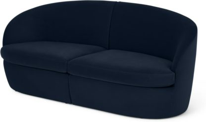 An Image of Reisa 2 Seater Sofa, Ink Blue Velvet