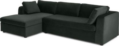An Image of Mogen Left Hand Facing Chaise End Sofa Bed, Dark Anthracite Velvet
