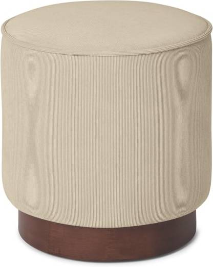 An Image of Hetherington Small Wooden Pouffe, Stone Corduroy Velvet with Dark Stain Wood