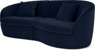 An Image of Reisa 3 Seater Sofa, Ink Blue Velvet
