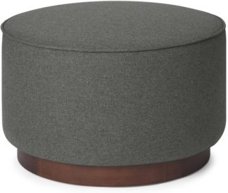 An Image of Hetherington Large Wooden Pouffe, Coventry Grey & Dark Stain Wood