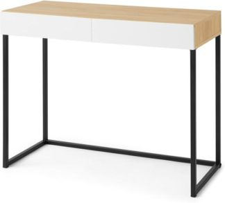 An Image of MADE Essentials Hopkins Compact Desk, Oak Effect & White