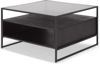 An Image of Kilby Square Coffee Table, Black Stained Mango Wood and Smoked Glass