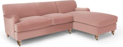 An Image of Orson Right Hand Facing Chaise End Corner Sofa, Vintage Pink Velvet
