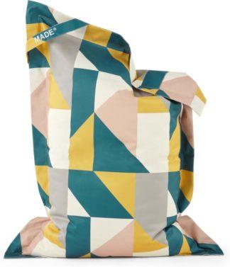 An Image of Small Piggy Bean Bag, Pink & Mustard Multi Print