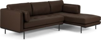 An Image of Harlow Right Hand Facing Chaise End Sofa, Denver Dark Brown Leather